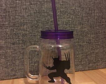 Wolverine plastic jar with straw
