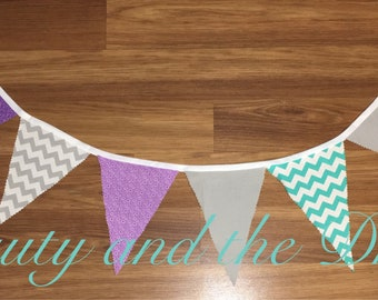 Bunting banner, flag banner, purple banner, teal banner, frozen banner, mermaid banner, loft banner, high chair banner, wall banner,prop