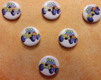 SET of 6 wood buttons: Circle pattern 15mm (03) car transportation theme