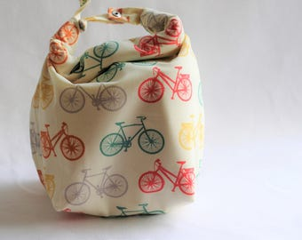 Women's Lunch Bag - Kid's Lunch Bag - Washable - 100% cotton - organic + upcycled cotton - Bicycle Lunch Bag - Sleek Lunch Bag