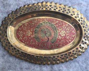 Vintage Brass tray made in India with gorgeous etched enamel detailed peacock design