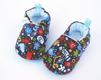 Classic Monsters / All Fabric Soft Sole Baby Shoes / Made to Order / Navy Blue