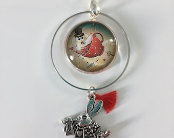Rabbit alice in Wonderland, charm and tassel necklace