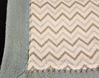 Blue and Grey Zig Zag Blanket