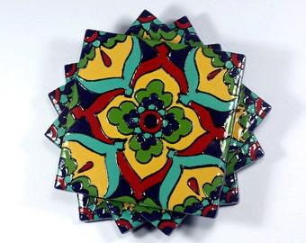 """Yellow, Red & Teal Talavera Style Coasters/Talavera Style Tiles -- """"Starburst Flower"""" -- Set of Four"""
