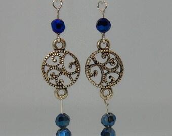 Ocean blue crystal beaded earrings with antiqued silver links.