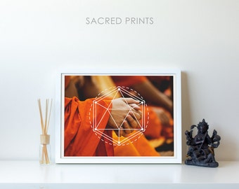 Hands Praying Digital Print, Buddhist Monk Poster, Large Spiritual Poster, Buddhism Art, Hexagons, Buddhism Symbol, Spiritual Gift Ideas