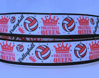"""Volley ball Queen Pink Crown Dots Border Printed Grosgrain Ribbon 1"""" Scrapbooking HairBows Parties DIY Projects az538"""