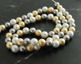Colorful pearl beads, set of 10, 6 mm