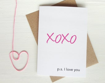 Anniversary card xoxo ps I love you for him for her romantic greeting card Valentine's Day