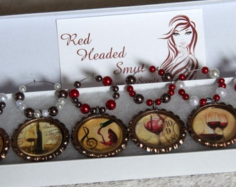 Wine Themed Bottle Cap Wine Charms- Set of 6