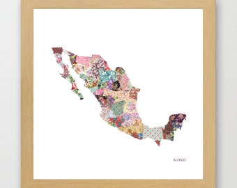 MEXICO MAP print, Mexico painting, map of Mexico, Painting of Mexico, Mexico poster, Giclee Fine Art, Flowers composition