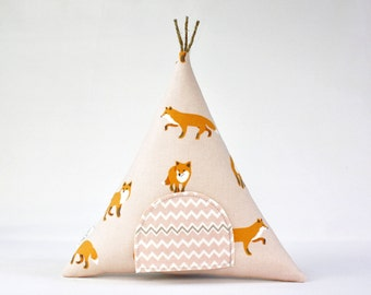 Tooth Fairy Teepee Pillow Toy, Woodland Pink Fox, Home Decor Pillow, Kids, Gift For Children, Stuffed Toy, Keepsake, Tipi,