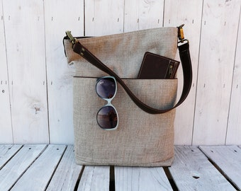 Linen totes - Messenger bag - Leather bag - tote bag - Everyday bag - beige brown shoulderbag - leather purse