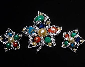 Sarah Coventry / Brooch / Clip On Earrings / Mid Century / Designer Jewelry / Fashion / FANTASY / Demi Parure Set