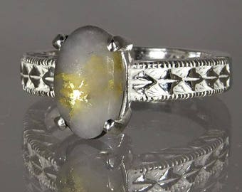 Native Gold in Quartz  2.00 ct  / from California / Handset in Sterling Ring -  NOW on SALE  -  Free Shipping, Gift Wrap