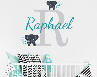 Personalised Name Initial & Elephants Wall Decal - Nursery Name Wall Decal - Elephants Vinyl Wall Sticker