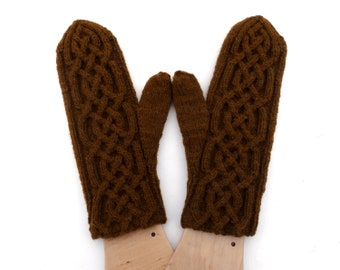 Hand knitted wool mittens, brown mitts, knit cabled mittens, hand knit hand warmers, winter gloves, women mittens, man mittens, handmade