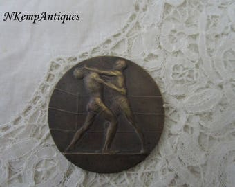Antique wrestling medal for the collector signed Henry Dropsy