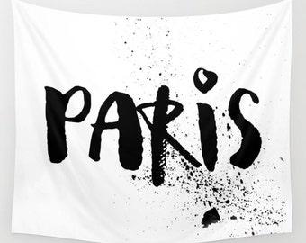 Paris Tapestry, Wall Hanging, Paris Wall Decor, Dorm Tapestry, Black and White Paris Wall Art, Teen Room Decor, Girls Bedroom Decor, Travel