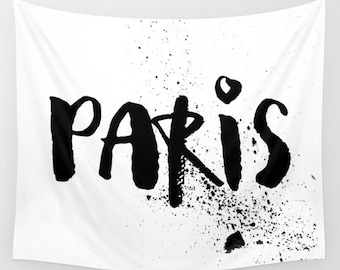 Paris Tapestry, Wall Hanging, Paris Wall Decor, Dorm Tapestry, Black And  White