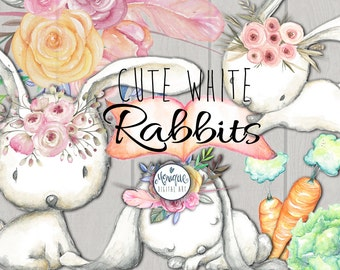 Rabbit clipart, bunny watercolor, woodland animals, hand painted, floral, planner stickers, graphics resources, cliparts, planner pages