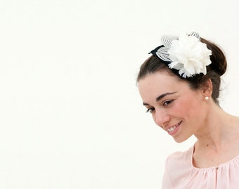 Ornsay - Black and White Fascinator made with feathers over a velvet leaf