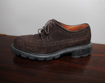 Vintage 90s Brown Suede Leather Oxfords Shoes 8.5 D  Brough Wingtips 8 1/2 Chunky  Banana Republic Creepers Rockabilly