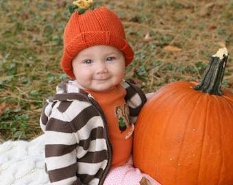 Baby Pumpkin Hat w/Tendrils and Pumpkin Blossom -0-3 Mos - Adult