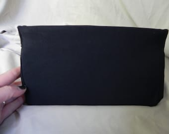 1950's Vintage Black Silky Clutch Purse Handbag by bobbie jerome