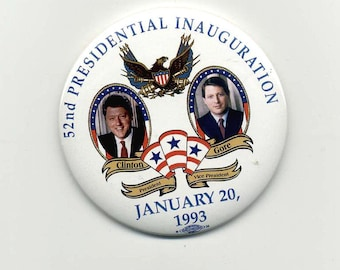 Clinton--Gore  1993 First Term Button  Inauguration Large Pin Back