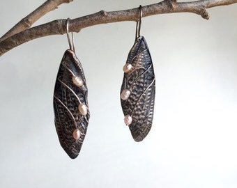 Cicada Wing Earrings, Handmade and Cast in my Austin Texas studio