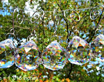 5 Crystal Balls, 30mm  Faceted Crystal Ball, Wedding Décor, Crystal Sun Catcher,  Christmas Ornament, Crystal Gift  FC 110-5