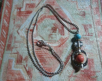 Healing coral & Turquoise stone, silver, necklace gift women's fashion