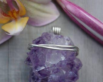 Amethyst drusy pendant. Sterling silver mount.