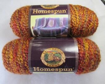 Lion Brand HOMESPUN Yarn in Wild Fire, Bulky Yarn, Acrylic Yarn, Silly Salmon Crochet