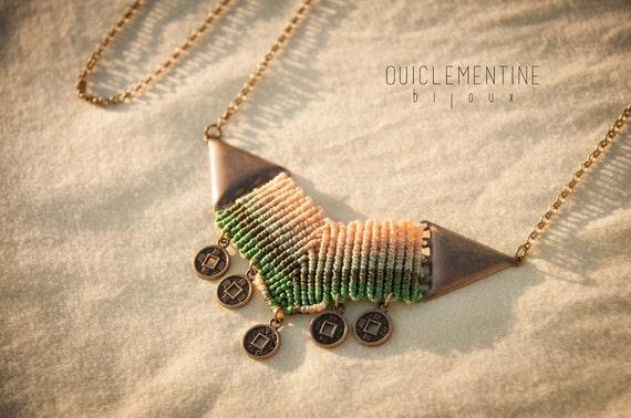 Chevron green necklace