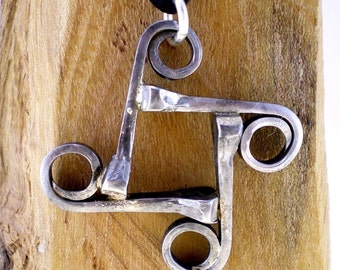 Horseshoe Nail Square Equestrian Pendant Necklace