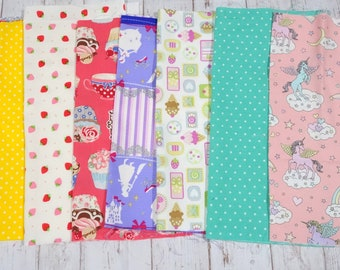 """Girls fabric scrap including Unicorn and strawberry   print 25 cm by 25   cm or 9.6 """" by 9.6""""  set of 8 pieces sc07"""