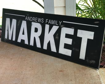 Family Market sign, family sign, market, family name sign, housewarming, farmhouse decor, farmhouse sign