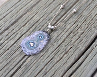 Freeform Amethyst Stalactite Slice Pendant, on customizable Sterling Necklace, hand wrapped with Sterling Silver wire (Only 1 left!)