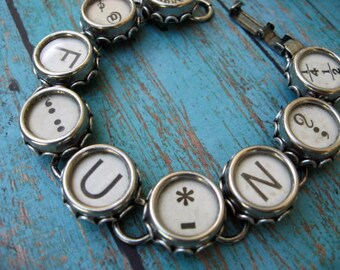 Typewriter Key Bracelet - Antique Typewriter Jewelry - FUN  B780