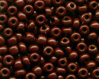 Opaque Chocolate Brown Czech Seed Beads size 11/0 lot of 20 grams