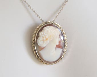 Large Vintage 12k Gold GF Shell Cameo Pendant Brooch Necklace