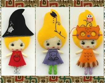Ready to Ship - Pumpkin Girl in Witch costume. Set of Three Halloween Ornaments, Hanging Felt Halloween Figurines, Home Halloween Decoration