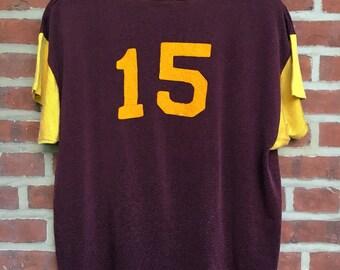 1950s vintage empire Rayon jersey purple yellow 50s athletic shirt nylon 15