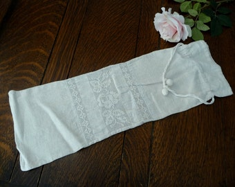 Lingerie Bag Lovely Linen & Lace, Vintage Linen Sack, Linen Draw-String Bag