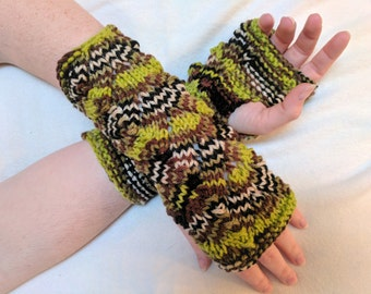 Fingerless Gloves Mitts in Lime Green & Brown Variegated Yarn - Knit in a Lovely Lace - fits adult hands