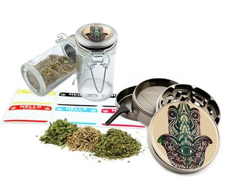 "Hamsa - 2.5"" Zinc Alloy Grinder & 75ml Locking Top Glass Jar Combo Gift Set Item # G123114-0004"