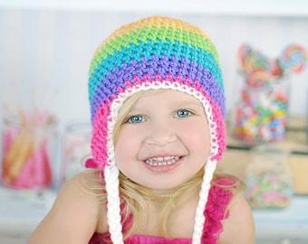 Rainbow Hat, Newborn to Womens hat, photography prop, winter hat, fall hat, crochet hat. Earflap hat, hat with braids, Girls hat, toque